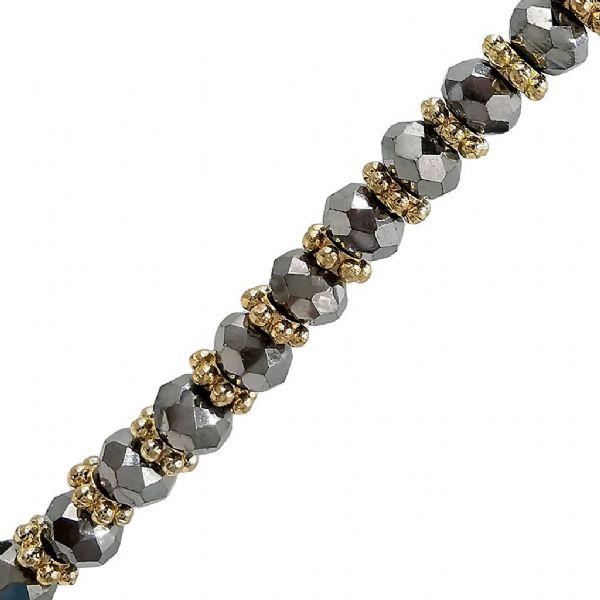 Silver Hematite Colour Glass Faceted Rondelle w/ Gold Spacers Necklace